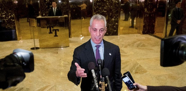 Chicago Mayor Rahm Emanuel speaks with members of the media after meeting with President-elect Donald Trump at Trump Tower in New York, on Wednesday.