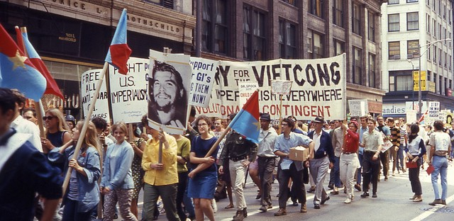 An anti-war march downtown as Chicago was preparing to host the Democratic National Convention in 1968.