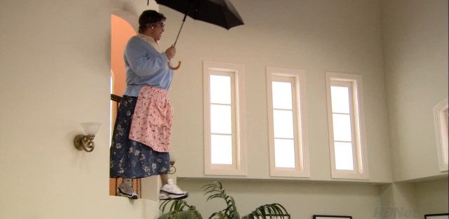 Mrs. Featherbottom attempts to fly on an umbrella in 'Meat the Veals,' one of the classic program's all-time great episodes.