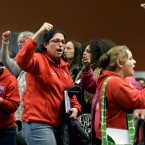 Members of the Chicago Teachers Union cheer during president Karen Lewis speech at a news conference on Wednesday, March 23, 2016, in Chicago. The Chicago Teachers Union has voted approve a one day walkout on April 1, 2016.
