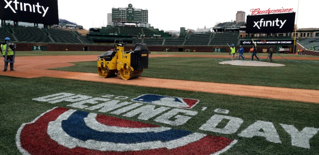 Workers prepare Wrigley Field on Friday, April 6, 2018, in Chicago for Monday's home-opener for the baseball team. (AP Photo/Nam Y. Huh)