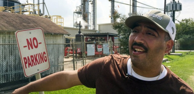 """""""If I smell something out here, it's bad, and I can tell you during Harvey, it smelled real bad,"""" said Juan Flores in Galena Park, Texas, about a leak that caused strong gasoline odors to waft through town."""