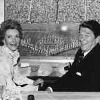 U.S. President Ronald Reagan and first lady Nancy Reagan enjoy the Opening Ceremonies of the 23rd Olympiad, which was boycotted by the Soviet Union, on July 28, 1984.