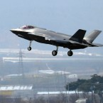 In this March 29, 2019, photo, a U.S. F-35A fighter jet prepares to land at Chungju Air Base in Chungju, South Korea. The White House says Turkey can no longer be part of the American F-35 fighter jet program.
