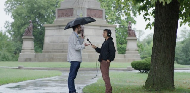 Questioner Will (left) and Curious City audio producer Jesse Dukes (right) stand in front of the tomb of Illinois politician and lawyer Stephen A. Douglas, Lincoln's main political rival. The tomb is located in Bronzeville near the site of the Union Army and prisoner of war Camp Douglas.
