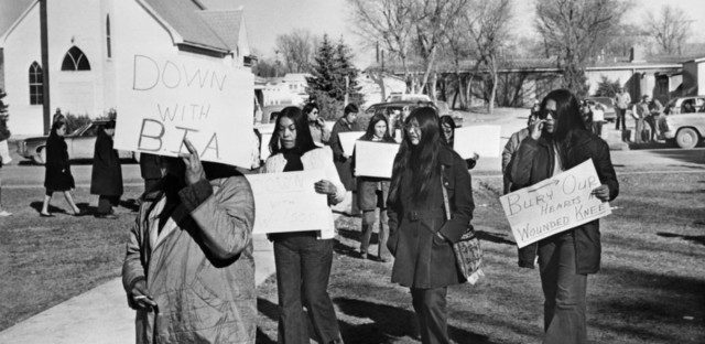 Native American women demonstrate in 1973 on the Pine Ridge Indian Reservation in South Dakota, where roughly 200 American Indians occupied the town of Wounded Knee for the rights of indigenous people.
