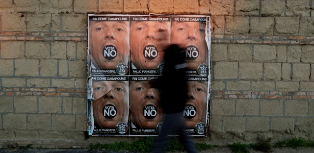"n this photo taken on Wednesday, Nov. 30, 2016, a man walks past posters showing Italian premier Matteo Renzi and promoting the NO vote in the upcoming constitutional referendum, in Rome. Italians will be called on Dec. 4 to vote, in a referendum proposed by Premier Matteo Renzi's government, over a reform that if approved will change the country's Constitution adopted in1947. A yes-or-no referendum Sunday on government-championed constitutional reforms has been transformed by rivals into a virtual plebiscite on the 41-year-old leader, Italy's youngest. A win by the ""No"" camp would be expected to trigger Renzi's resignation."