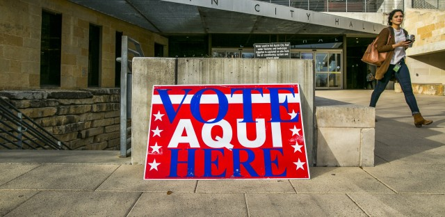 Texas, where Austin City Hall was an early voting center, was the first state to go to the polls in midterm primaries in March. Russian interference in 2016 elections looms large over this year's voting.