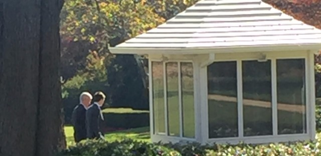 President Obama's Chief of Staff Denis McDonough takes Donald Trump's son-in-law Jared Kushner for a walk on the South Lawn. Kushner, husband of Ivanka Trump, played a key role in Trump's campaign.