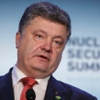Ukrainian President Petro Poroshenko holds a news conference after meetings at the Nuclear Security Summit in Washington, Friday, April 1, 2016.