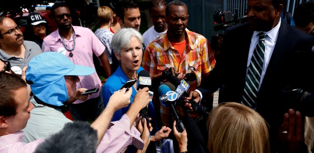 Green Party presidential candidate Jill Stein answers a question to reporters at South Austin neighborhood Thursday, Sept. 8, 2016, in Chicago.