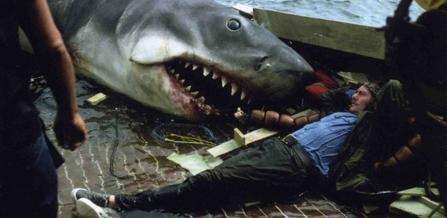 Actor Robert Shaw, who played the shark hunter Quint in <em>Jaws,</em> takes a break from lunch. Or rather, from being lunch.
