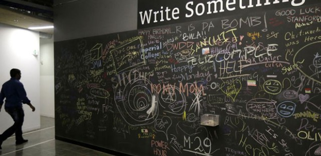 Employees and visitors can leave messages on walls like this on the Facebook campus in Menlo Park, Calif.