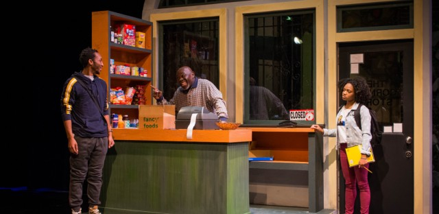 From Left to Right: Davon Roberts plays Rudy, Kelvin Davis plays Eddie, and La Shone T. Kelly plays Akari in Fast Food Chain at the Adventure Stage.