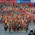 Runners start the Chicago Marathon, Sunday, Oct. 9, 2016.
