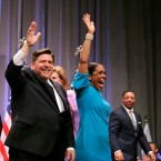 Illinois Gov. JB Pritzker, left, and Lt. Gov. Juliana Stratton, shown here in March 20, 2018, were sworn in Monday in a Springfield ceremony.