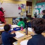 Souad Mohammad teaches Arabic to a third-grade class at Al Fatih Academy in Reston, Va.