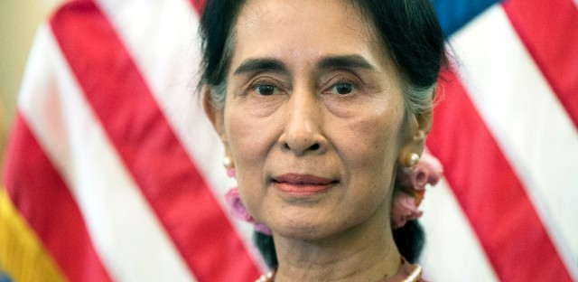 Myanmar leader Aung San Suu Kyi attends a meeting on Capitol Hill in Washington in this Sept. 15, 2016 file photo.