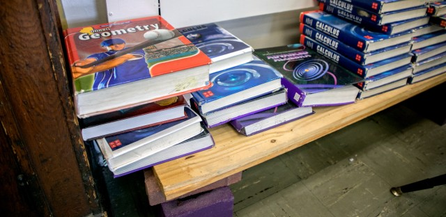 Textbooks in a classroom in at Lake View High