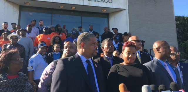 CTA bus driver Melissa Barker (center) stands with members of Amalgamated Transit Union Local 241. She was allegedly assaulted by two passengers.