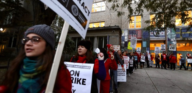 Striking teachers at Peirce Elementary