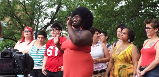 Photo of KOKUMO singing with Chicago's Queer Choir