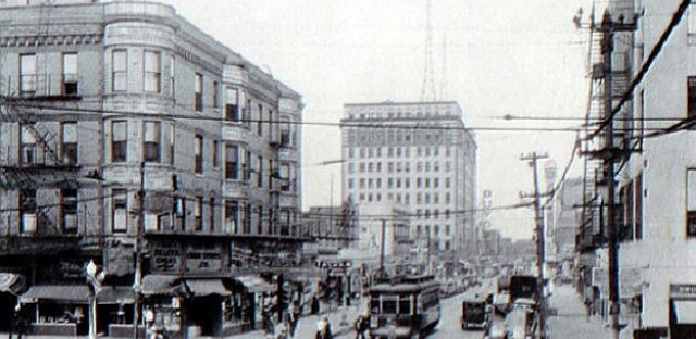 Pulaski at Madison, looking north toward the Guyon Hotel, 1934