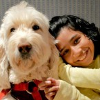 Ehlena Fry poses with her dog, Wonder.