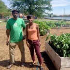 Rodger Humphrey and Nateba Yates at Evergreen Terrace's vegetable garden.