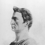 This is an undated sketch of Julius Caesar, Roman general and statesman.
