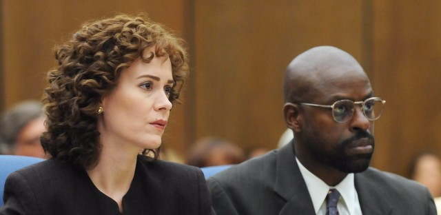 Sarah Paulson plays prosecutor Marcia Clark and Sterling K. Brown plays fellow prosecutor Christopher Darden in the FX series The People v. O.J. Simpson: American Crime Story. Ray Mickshaw/FX