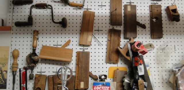 Antique planing tools are part of Michael Walton's woodworking arsenal.
