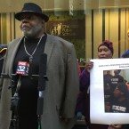 Activist Jitu Brown speaks at a press conference on Monday, Feb. 26 about a Chicago Sun-Times report that key supporters of closing four Englewood high schools don't live in the community and have contracts with Chicago Public Schools.  He and others called on CPS to cancel Wednesday's planned Board of Education vote on the plan.