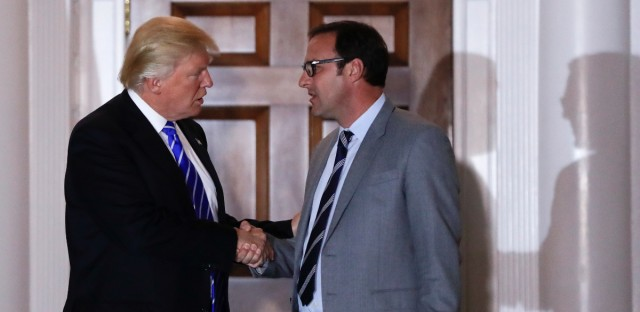 President-elect Donald Trump and Todd Ricketts, a co-owner of the Chicago Cubs, shake hands as Ricketts leaves the Trump National Golf Club Bedminster clubhouse in Bedminster, N.J., Saturday, Nov. 19, 2016. (AP Photo/Carolyn Kaster)