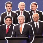 A photo illustration of Democratic candidates for Illinois governor at the podium before a televised forum Tuesday, Jan. 23, 2018, outlined in white against a blue background
