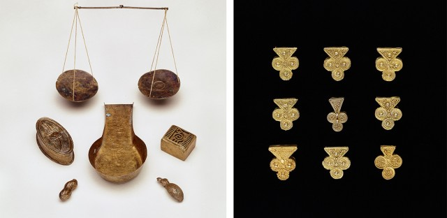 Northwestern University's Block Museum of Art received word that artifacts from the Smithsonian's National Museum of African Art will be in Evanston in time for the Jan. 26 opening of a new exhibit, despite the federal government shutdown. The artifacts include scoop, boxes, and weights for measuring gold from Ghana and Côte d'Ivoire; earrings from Senegal; and gold jewelry ornaments.