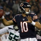 Chicago Bears quarterback Mitchell Trubisky (10) throws a pass during the first half of an NFL football game against the Seattle Seahawks Monday, Sept. 17, 2018, in Chicago.