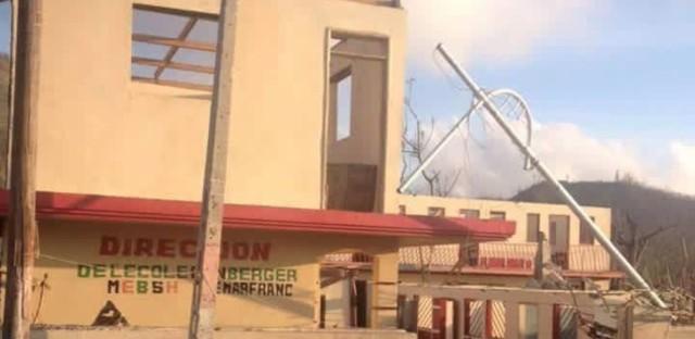 A photo of the New Shepherd School following Hurricane Matthew.