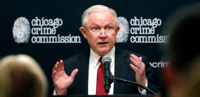 Attorney General Jeff Sessions speaks to the Chicago Crime Commission at Union League Club of Chicago, Friday, Oct. 19, 2018, in Chicago.