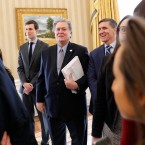 Jared Kushner, Steve Bannon and National Security Adviser Michael Flynn