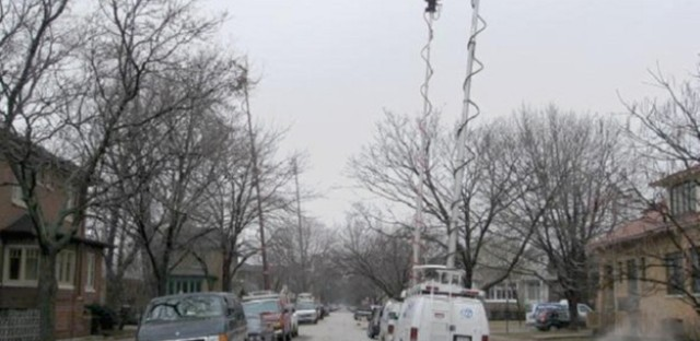 Albany Park in the news--TV crews outside the Blagojevich house, 2010