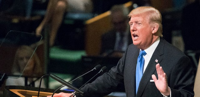 U.S. President Donald Trump speaks during the 72nd session of the United Nations General Assembly at U.N. headquarters, Tuesday, Sept. 19, 2017.