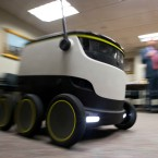 The Starship Technologies delivery robot goes through it's paces during a demonstration at the Capitol in Richmond, Va., Wednesday, Jan. 25, 2017.
