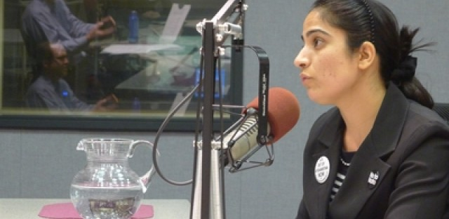 Afghan human rights activist Malalai Joya discusses the war in Afghanistan with Jerome McDonnell in WBEZ's studio on March 31.