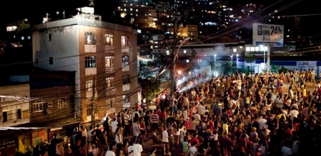 Brazilians watch a reenactment of the Passion of Jesus Christ in Rio de Janero on Good Friday of this year.