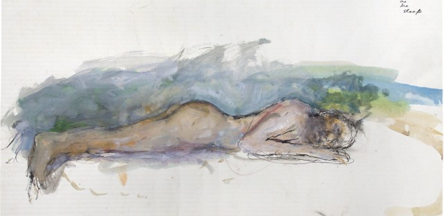 <em>Man (Dreaming)</em>, by June Leaf, 1972. Acrylic, and brush and ink on paper, 24 3/4 × 39 3/4 in. Collection of the artist.