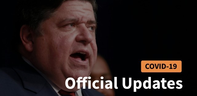 Govenor JP Pritzker with Text Card that says COVID19 Official Update