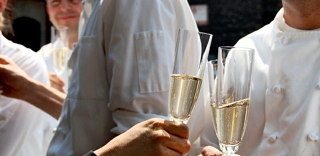 Champagne toast at Charlie Trotter's, which closed in 2012