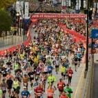 Runners start the Bank of America Chicago on Marathon Sunday, Oct. 13, 2019, in Chicago.