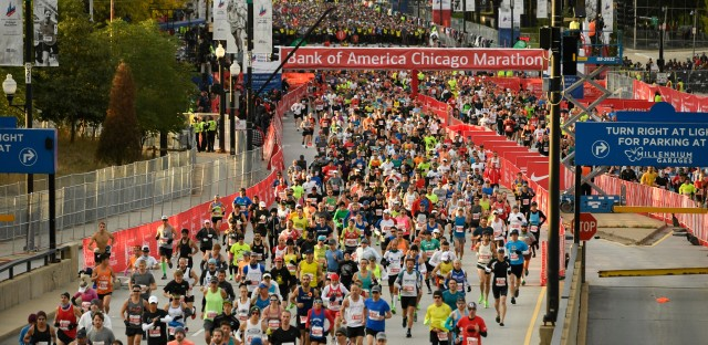 Runners start the Bank of America Chicago on Marathon Sunday, Oct. 13, 2019, in Chicago.